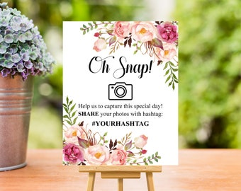 Personalized Hashtag Sign Printable, Oh Snap Hashtag Sign, Boho Pink Floral, 8x10, Wedding, Bridal Shower, Birthday, Special Day, B54