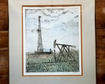 John Collette Watercolor Etching, Oil Patch, John Collette Art, Modern Art, John Collette, Original Art, Original Painting