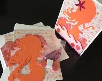 DIY Card Making Kit, Mermaid, 4Pk, Blank Inside, Card Making, Kids Craft, Greeting Card Kit, Premade Card