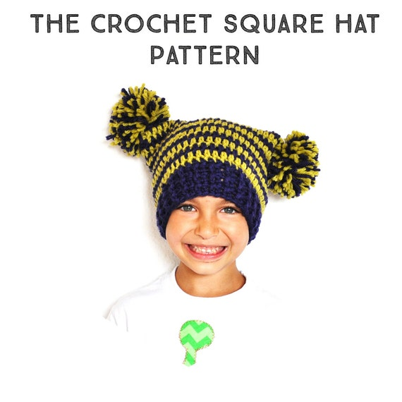 Crochet Pattern The Square Pom Pom Hat Newborn Toddler