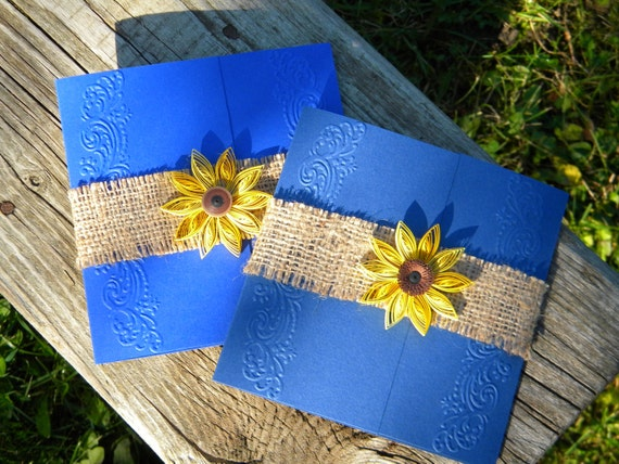 Cobalt blue and sunflower wedding invitation / Burlap wedding