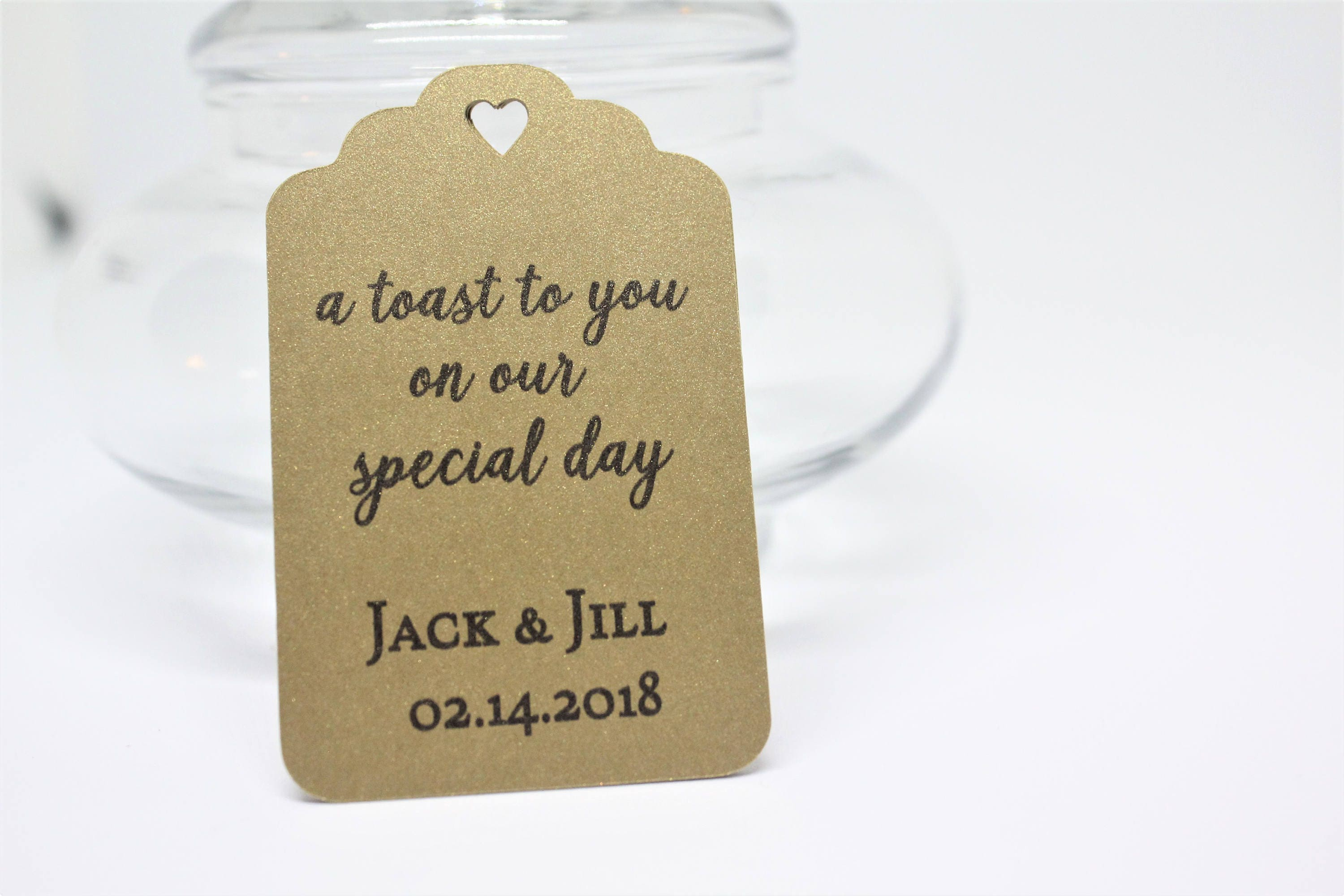 Shimmer gold favor tags Wedding favor tags Thank you tags A