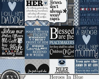 On Sale 50% Heroes In Blue Police3x4 Pocket Scrap Cards, Project Life, Elements and Embellishments for Digital Scrapbooking