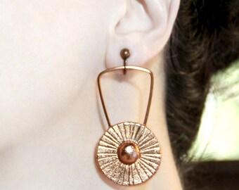 Long earrings Stylish clip on dangles Non pierced earring Statement jewelry Clip earrings Copper screw back earring Big dangle earrings Long