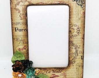 French Inspired Photo Frame, Altered Picture Frame, Picture Frame, Wood Photo Frame, Home Decor