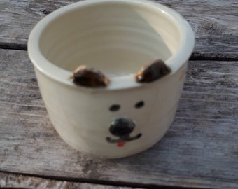 Pottery handmade puppy dog plant pot whimsy face  planter catch all  boho perfect for airplants or succulents great  gift