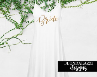 Bride Shirt Tunic Cami Tank Mini Dress Swimsuit Cover Up Honeymoon Outfit White Gold Getting Ready On Wedding Day