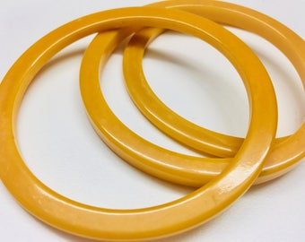 Vintage Bakelite Bangles, Butterscotch Color, Group of 3, Mixed Stacking Bangles