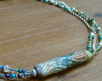 3 Strand Pastel Necklace with Ceramic Heart Focal Bead