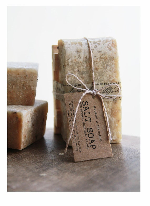 SALT SOAP w/ wooden soap dish -Gift Set - Made In OZARKS-  Sea Salt Soap Bar, Detoxifying Soap, Detox Soap, Rustic Gift, Man Gift