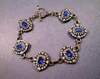 Rhinestone Bracelet, Victorian Grace, Sapphire Blue and White Glass Stones, Brass Chain Bracelet, FREE Shipping U.S.