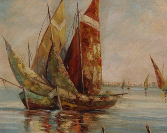 ANTIQUE BOAT PAINTING, Sailboat  Fisherman Vintage Signed L. Wechlin ''Italian fishing boats'' 22'' X 16'' original wooden frame 29'' X 23''