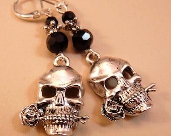 Skull Earrings Silver Earrings Skull Jewelry Silver Jewelry Beaded Jewelry Beaded Earrings Rose Earrings Rose Jewelry