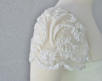 Detachable Ivory or White Beaded Lace Cap Sleeves to Add to your Wedding Dress it Can be Customize