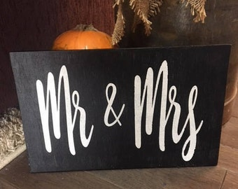 Mr & Mrs hand-painted wood sign