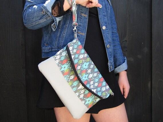 Ikat Handmade  Clutch cross body purse wristlet handbag shoulder bag evening bag