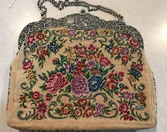 Sterling Silver Hallmarked Frame, Floral Petit Point Purse