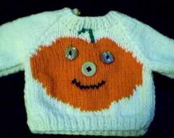 Handmade Halloween Jack O Lantern Pumpkin Sweater for 15 inch Bitty Baby Bitty Twin Doll