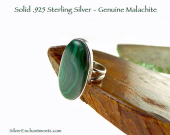 Sterling Silver Malachite Ring Size 5 - .925 Silver Gemstone Jewelry, Malachite Jewelry, Sterling Large Oval Ring, Minimalist Ring