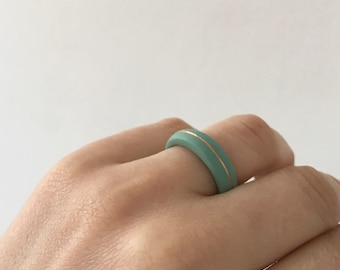 Minimalist Narrow Stacking Ring ∙ Antalya ∙ Narrow Simple Porcelain Ring ∙  Turquoise Gold Ring ∙ Stacking Rings ∙ Simple Ring