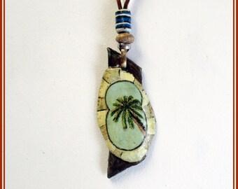 Colgante miniatura pintada palmera, colgante hecho a mano papel maché, colgante boho hippie para ella, colgante amante naturaleza, regalos.