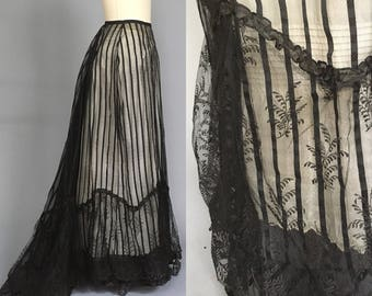 Antique victorian silk andclace skirt