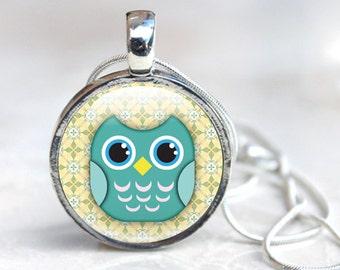 Owl Necklace, Cute Owl Pendant Glass Necklace, Cute, illustration, Owl Jewellery, Cute Cartoon owl, Bird Jewellery