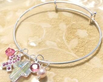 Breast Cancer Awareness Swarovski Crystal Charm Bracelet | Solid Sterling Silver Expandable Wire Bangle Bracelet