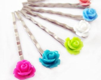 THREE Rose Bobby Pins - Choose Your Colors - 24 Colors to Choose From