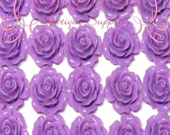 Resin Flower Cabochon 20mm, Lavender Roses, Uses Include Earrings, Magnets, Pins, Thumbtacks, Chunky Jewelry, Wine Charms, Pendant, Jewelry