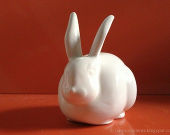 White Cottontail Bunny Rabbit Ceramic Cotton Ball Holder
