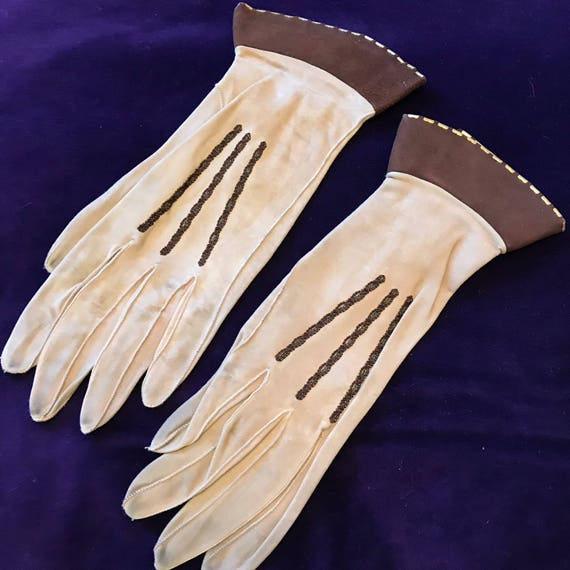 1920s gloves brown leather gauntlet gloves gold metal studs sand beige 1930s 20s gauntlet small 5 6