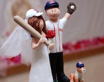 Baseball Bride and Groom Wedding Cake Topper, Red Sox Wedding Anniversary Gift, Boston Red Sox Wedding CakeTopper, Baseball Anniversary Gift