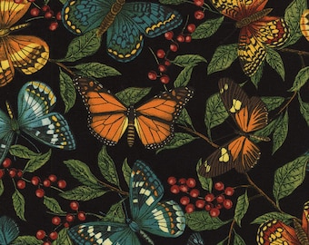 Colorful Butterflies, Leaf Branches, Black, Garden Journal, Timeless Treasures (By YARD)~