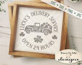 St Patricks Day SVG File - Truck with Shamrocks SVG - St Patricks svg  - Luckys Delivery - Shamrocks -  Commercial Use svg, dxf, png and jpg