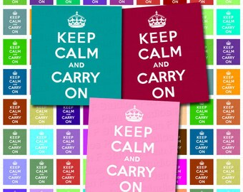 Keep Calm and Carry On Digital Collage Sheet - Scrabble Tile Size 0.75 inch X 0.83 inch - Instant Download