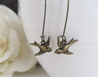 Rustic Flying Swallow Bird Dangle Earrings. Nature Woodlands Wedding Jewelry, Birthday, Bridesmaid Gift Antiqued Brass For Her Earrings