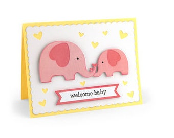 Welcome Baby Elephant Card , Blank inside , New Parents , NewBorn , Boy , Girl , Gift , Expecting