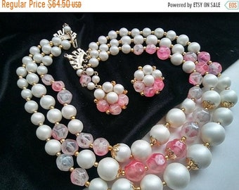 ON SALE Signed Hong Kong 3 Multi Strand Necklace Cluster Button Earring Set, High End Lucite Vintage Jewelry Demi Parure