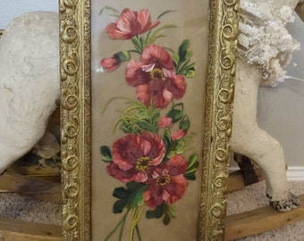 Vintage Shabby Cottage Chic Victorian Reverse Glass Painting