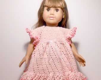 Heirloom Quality 18 Inch Doll Dress,  Doll Dress,  Hand Crocheted Pink Dress for 18 Inch Doll, Pink Crocheted Dress, Pink Dress