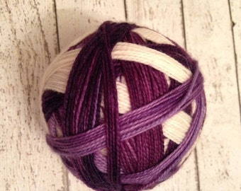 The color purple, self striping sock yarn dyed to order just for you