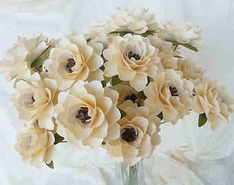 Paper Flowers - Wedding Flowers - Stemmed - Rustic - Ivory and Brown  - Made To Order - SET OF 24