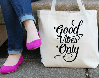 Good Vibes Only XL Canvas Tote Bag