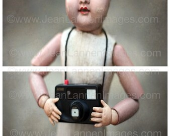 Creepy Doll and Camera, Photograph, DUO Fine Art Print, Spooky Cute Old Vintage French Doll toy camera By Jean Lannen, The Other Jeanie