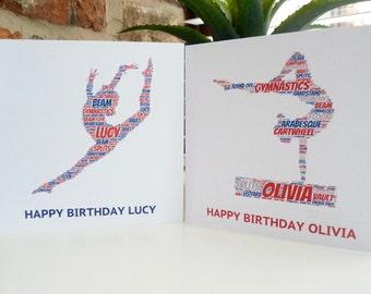 Personalised Gymnast Card, Personalised Birthday Card, Personalised  Card, Gymnast Card