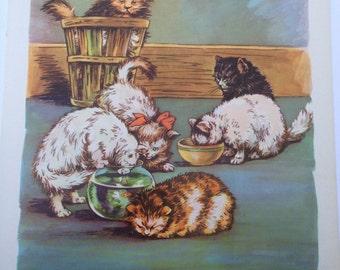 Kittens At Play- A Clara M Burd Vintage Print 1930s Childrens Book Print