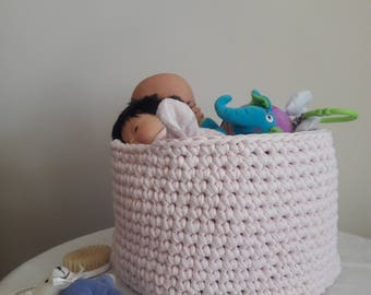Recycled cotton - light pink basket / unique