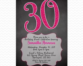 30th Birthday Invitation, Printable, Dirty Thirty, 30, Glitter, Chalkboard, Pink, Black, For Her, Invite, 5x7 , Digital File, JPEG, PDF, DIY
