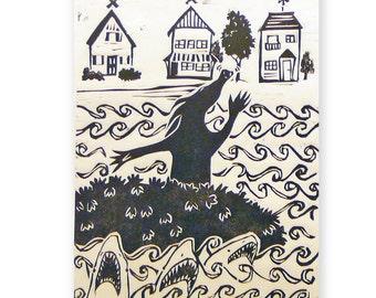 Cakeasaurus and Sharks (original woodblock print)